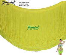 YACKALASI 2 Yards Fringe Tassel Lace Fluorescent Yellow Samba Latin Macrame Nylon Soft Dull Color Dress Tassel Trimming 18-20CM(China (Mainland))
