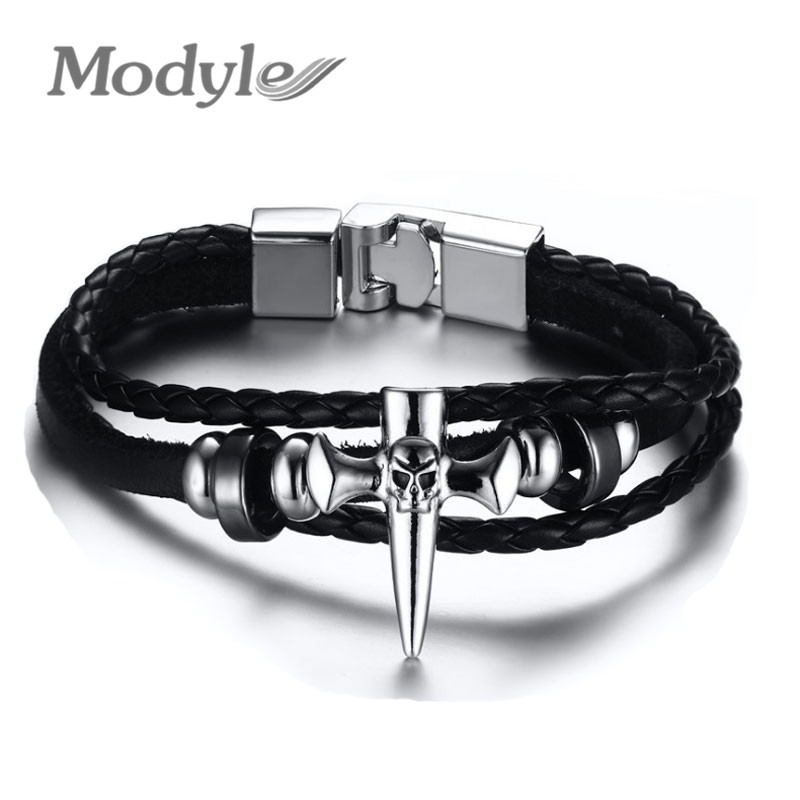 Modyle 2016 Punk Rock Fashion Gothic Style Cross Skull Leather Bracelet buckle belt Leather Bangles for Women Men pulseira Gift(China (Mainland))