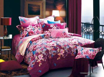 Wholesale,colorful flower floral pattern elegance pink red 4pc reactive sanding King/Queen/Full quilt/duvet covers sets bedlinen