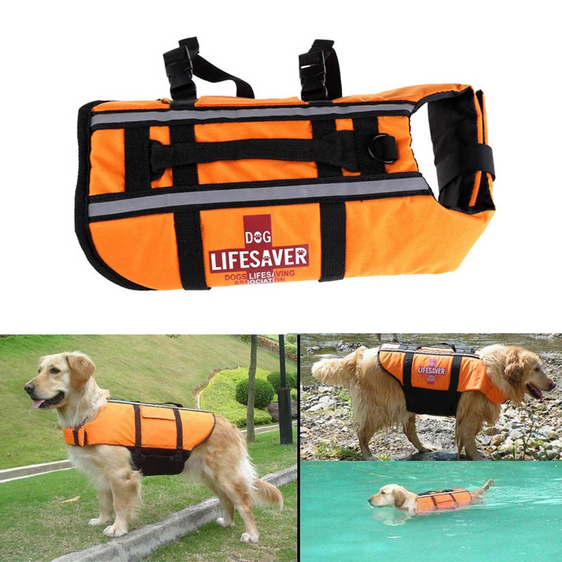 Orange Dog Pet Float Life Jacket Life Vest Aquatic Safety Swimming Suit Boating Life Jacket S/M/L Free Shipping MTY3(China (Mainland))