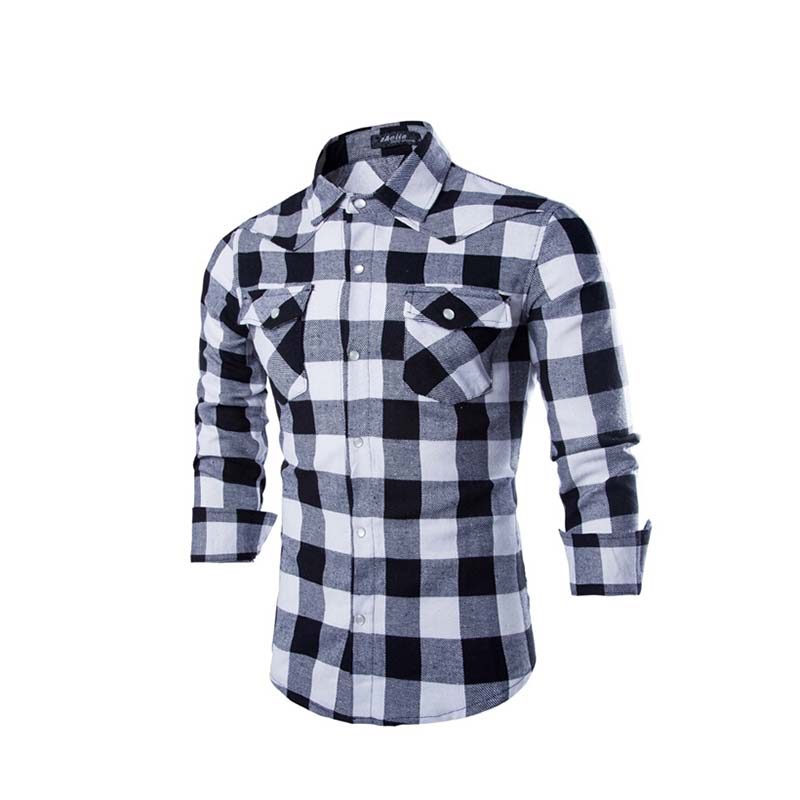 2015 autumn mens plaid flannel shirts turn down collar