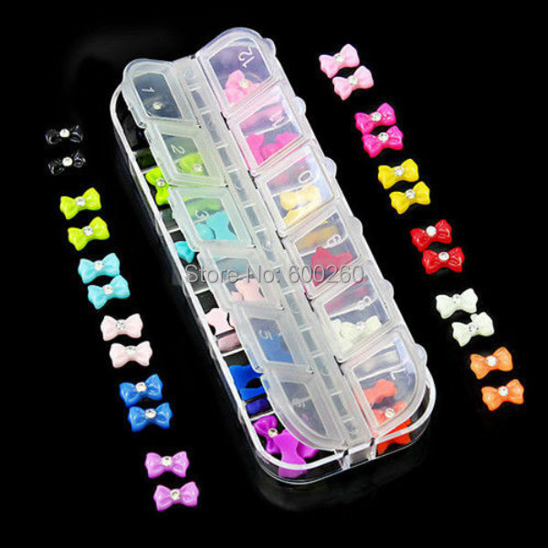 12 colors 60x Trendy 3D Glitters Bow Tie Butterfly Rhinestone Nail Art Tips Decorative DIY 2015 New free shipping(China (Mainland))