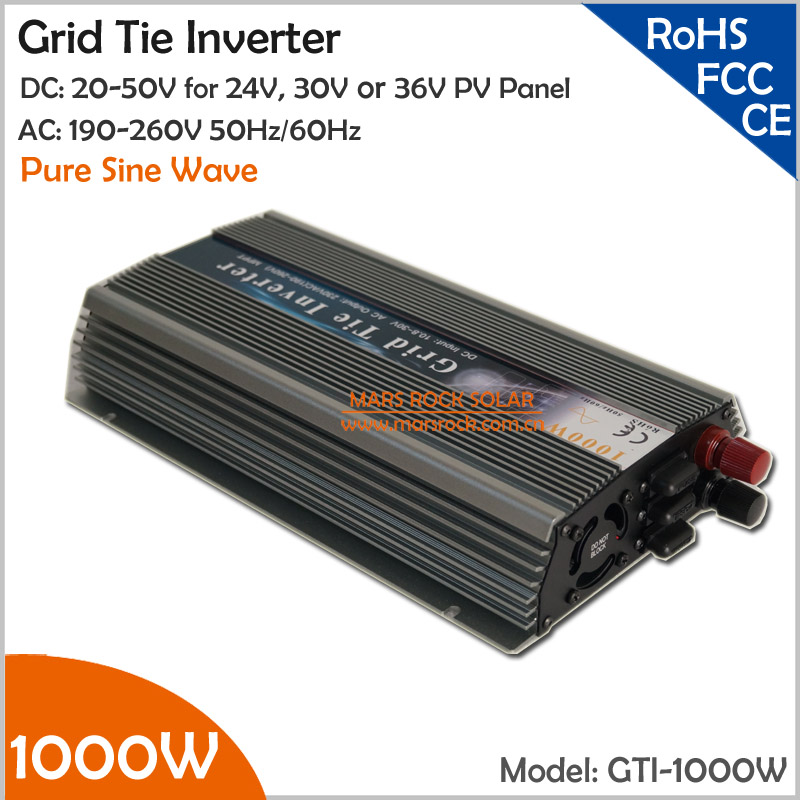 1000W Grid Tie Inverter, 20-50V DC to AC 220/230V Pure Sine Wave Inverter for 1000-1200W 24V, 30V, 36V PV module or Wind Turbine(China (Mainland))