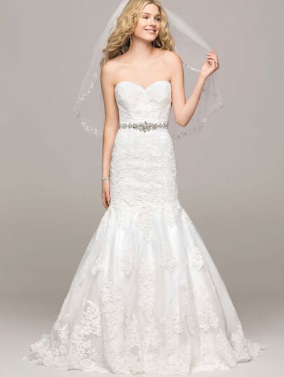 Gorgeous sweetheart lace trumpet wedding dresses chapel for Sweetheart lace trumpet wedding dress