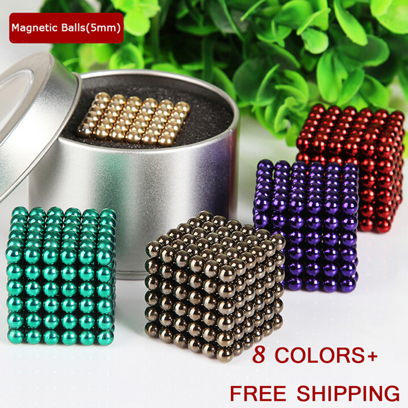 Neodymium Bucky ball Colorful 216pcs Neo Cube Magic Cube Puzzle Magnetic Magnet Balls Spacer Spheres Beads with Gift Box 5mm NEW(China (Mainland))