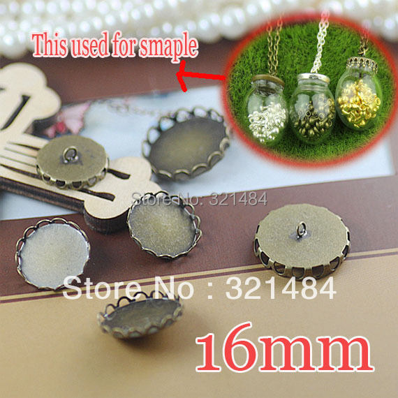 Rhodium plated 300pcs Lace Caps Covers For glass bottle vials pendant DIY 16mm Blank Base Setting WHOLESALE