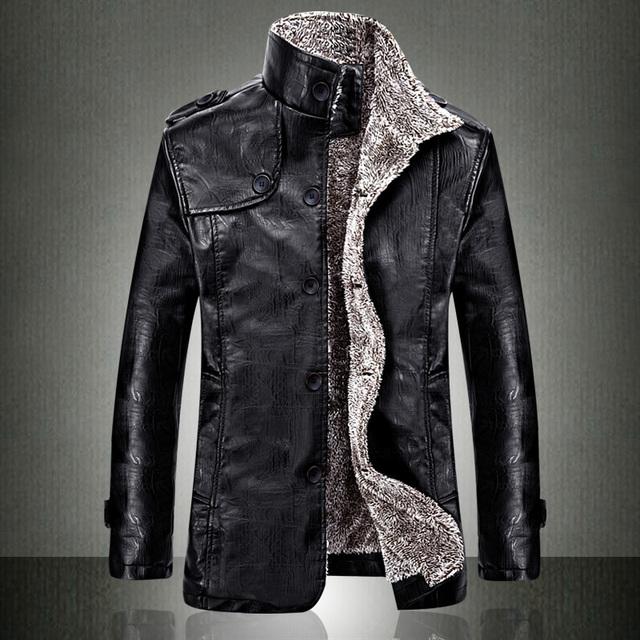 Европейский мода мужская винтаж утолщение PU кожаная куртка 2015 осень зима дизайнер известный бренд мужской уменьшают подходящие теплое пальто