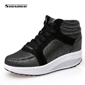 2017 Women Spring Autumn Breathable Platform Casual Shoes Womens Walking Boots Woman 8cm High Heels Swing