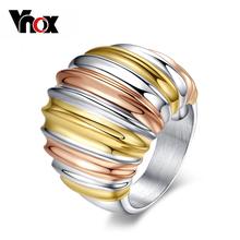 Vnox Ювелирные золотые & посеребренная большие кольца для женщин обручальное кольцо из нержавеющей стали марка женщины ювелирные изделия(China (Mainland))