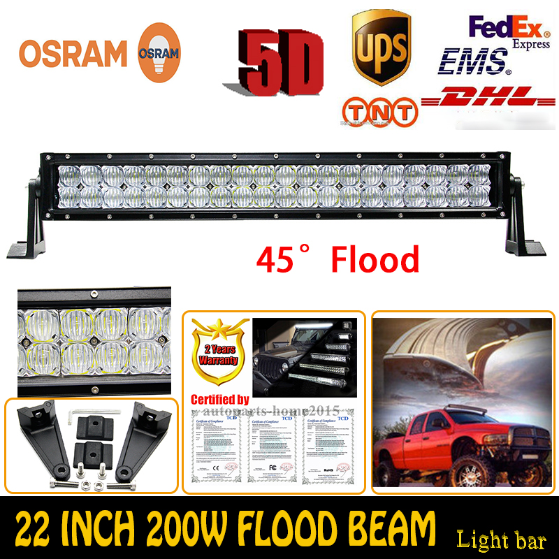 200W 5D OSRAM 22Inch Flood LED Work Light Bar Off-Road Driving Lamp ATV Truck Trailer Boat Car Lamps External Lights For Jeep VW(China (Mainland))