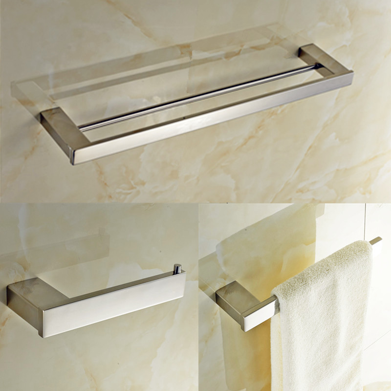 Stainless steel 304 Polished Finished bathroom accessories set 3 Piece-Double Towel Bar ,Towel Ring,Tissue Holder -L140B