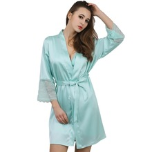 New Solid Satin Chiffon Robe Spring Summer Sexy Women Bathrobe Sleep Robes Ladies Home Clothes(China (Mainland))