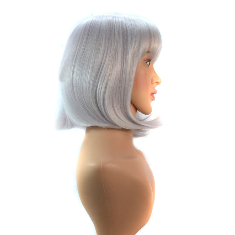 180g 40cm Short Straight BOB Silver Adjustable Perruque Synthetic Womens Wigs Female wig Fake hair Peluca Anime Cosplay Party <br><br>Aliexpress