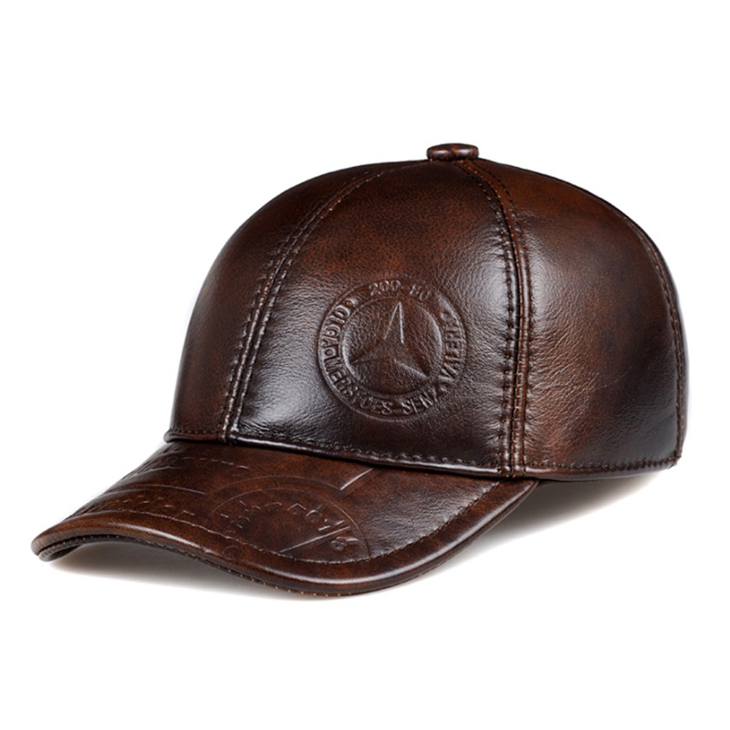 Wholesale-100% top quality cowhide warm hat new 2016 full and winter fashion leather hat sports Hats for man/woman(China (Mainland))