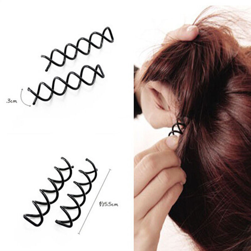10pcs Women Lady Hot Sale Spiral Spin Screw Bobby Pin Hair Stying Clip Braider Twist Barrette Black New Hair Band Accessories(China (Mainland))