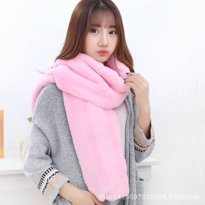 Nice! Women Faux Fur Warm Scarves Infinity Circle Cable Cowl Neck Winter Warm Long Scarf Shawl Pure Color Scarf for Women Wraps