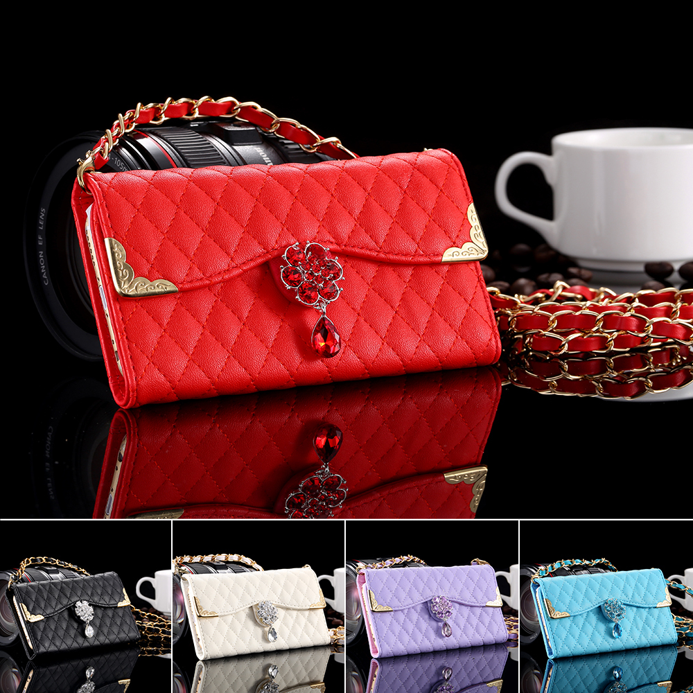 i6 Luxury Brand Leather Case Diamond Lattice Chain Soft Case for Apple iPhone 6 4.7 With Metal Chain Woman Shoulder Bags Cover(China (Mainland))