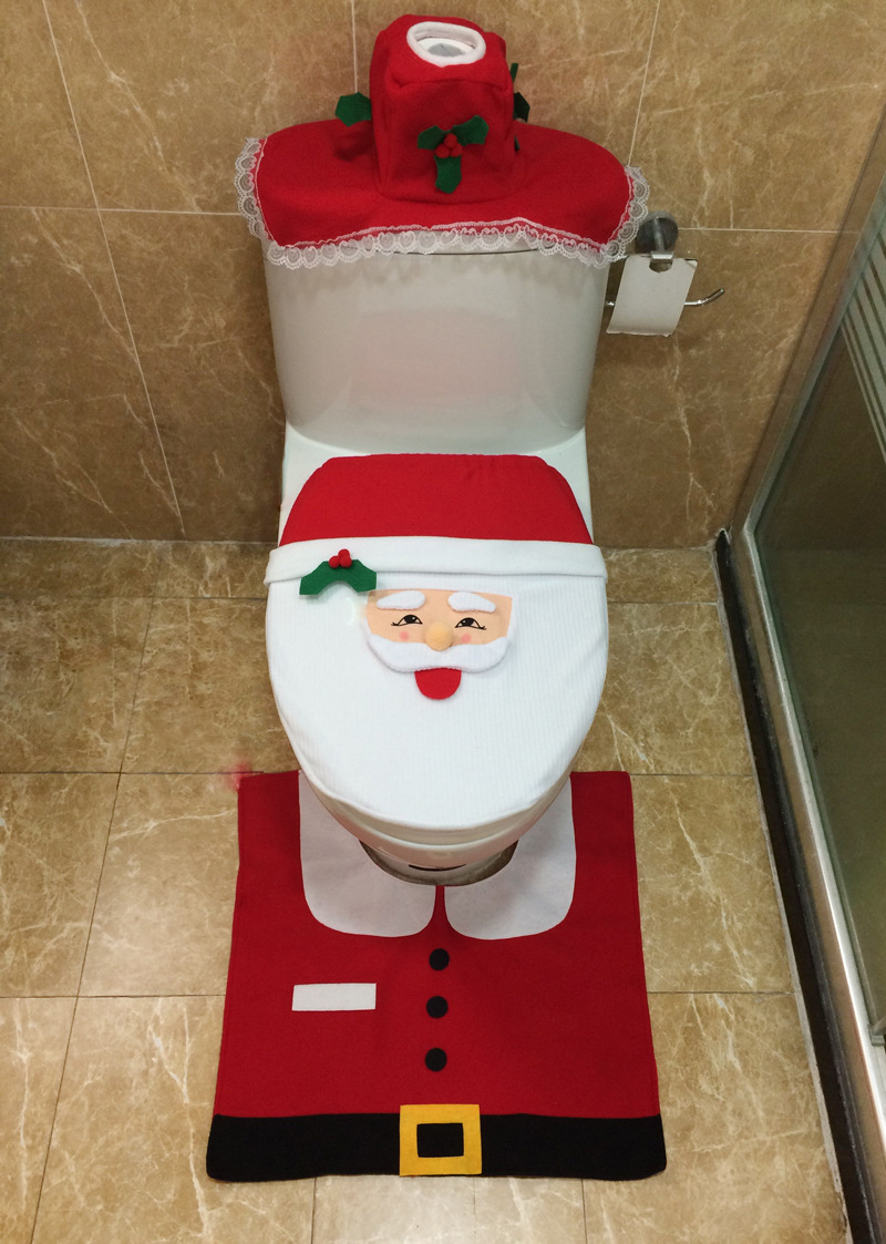 3 PIECES SANTA CLAUS DESIGN TOILET SEAT COVER AND CUSHION SET LACE CHRISTMAS