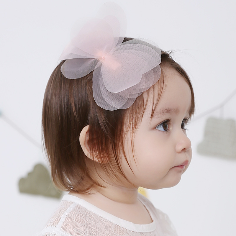 2016 New Fashion Baby Girls Hairpins Handmade Gauze Big Bow Side Hair Clips Barrettes Kids Children Hair Accessories(China (Mainland))