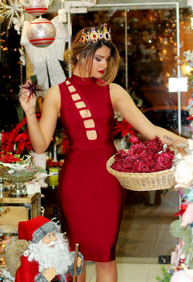 2016 New Style Summer Dress Sexy Red Cut Out Bodycon Bandage Dress 2016 New Arrival(China (Mainland))