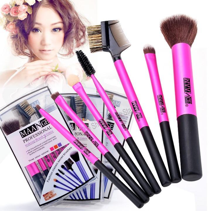 7pc Makeup Brushes Kit Eyeshadow Mascara Blush Eyebrow Sponge Make Up Brush Tool(China (Mainland))
