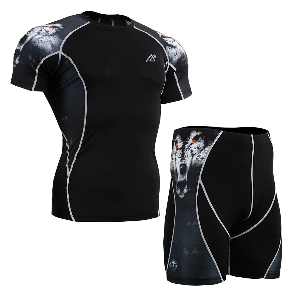 Mens Compression Short Sleeve Shirt&amp;Shorts Set Skin-Tight Gym Training MMA Workout Fitness Yoga Clothing Set C2S/P2S-B18<br><br>Aliexpress