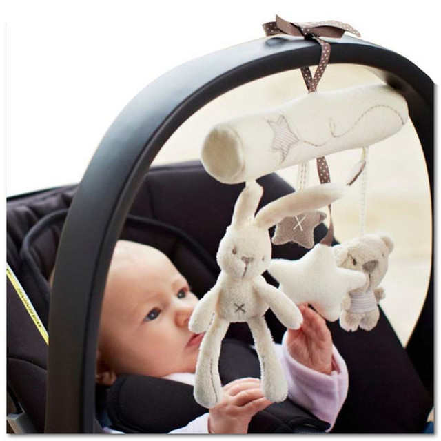 Rabbit baby music hanging bed safety seat plush toy Hand Bell Multifunctional Plush Toy Stroller Mobile Gifts