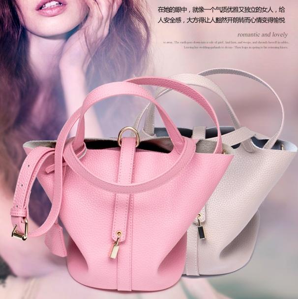 2015 new arrival H basket genuine leather bag fashion women's handbag togo litchi tote bag small bag portable bucket bag(China (Mainland))