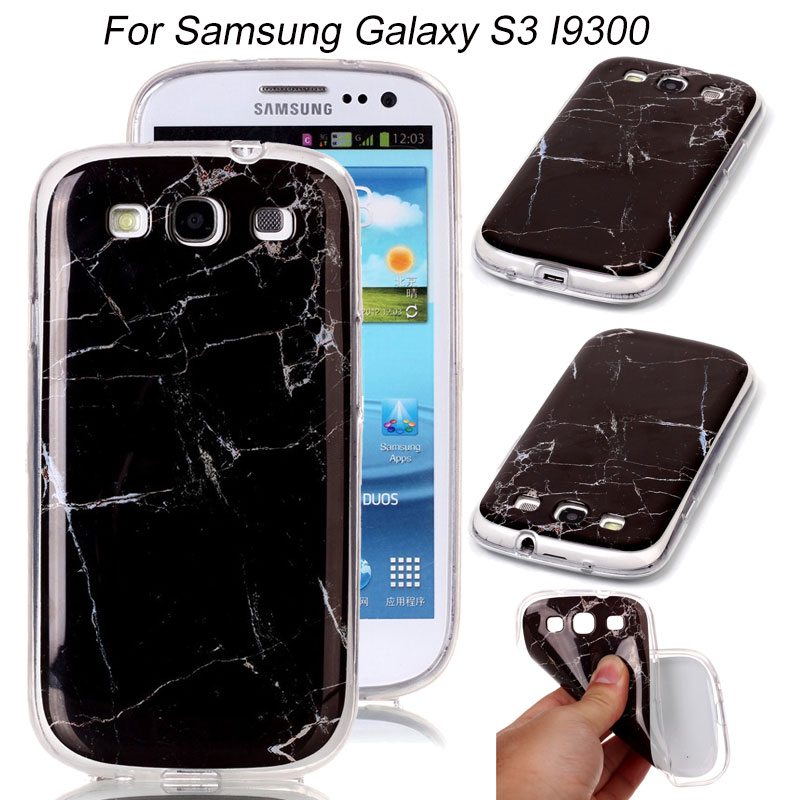 For Galaxy S5 S4 S3 Clear Side Marble Patterns Soft Silicon TPU Back Phone Cover for Samsung Galaxy SIII S IV S5 Smartphone Case(China (Mainland))