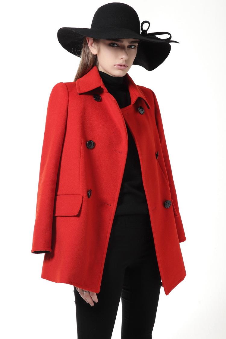 Winter Jacket Women Red Wool Coat 2016 New Manteau Femme  Slim Long Sleeve Cloak Woolen Winter Coat 5150100