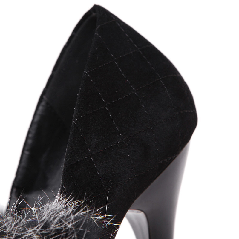 Flock Fashion Platform Pumps Women 2016 Sexy High Heels Shoes Immitation Rabbit Fur Pumps 16cm Heels Pointed Toe Party Shoes