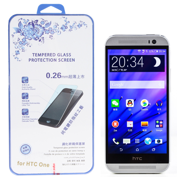 0.26mm Ultra Thin Sensitive Touch Premium Tempered Glass Screen Protector for HTC One M8 with Retail package(China (Mainland))