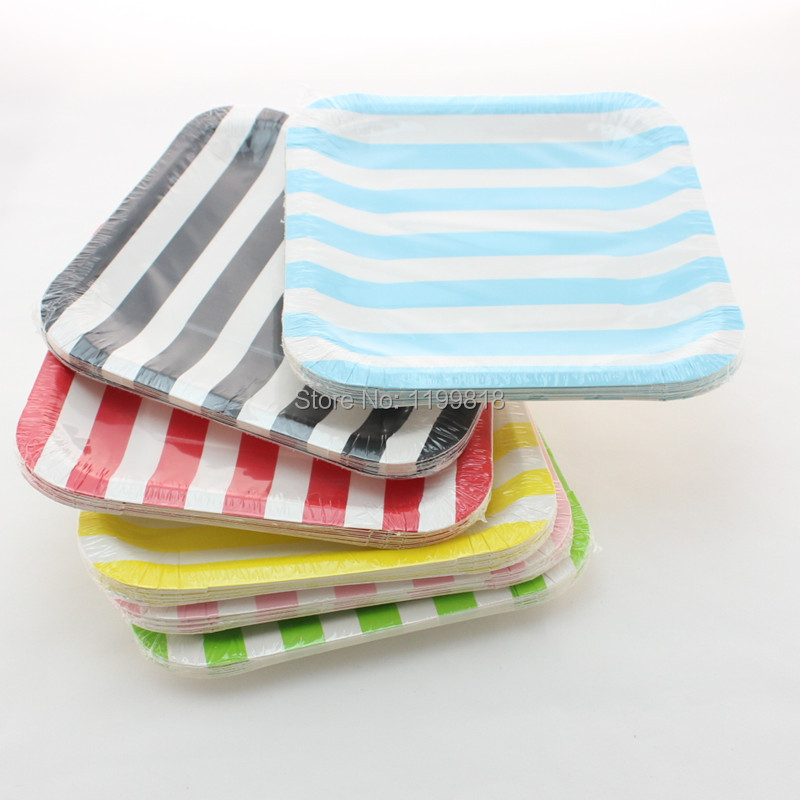 Free Shipping!!! 360 pcs/lot Square Paper Plates Disposable Party Supplies Striped Paper Plates(China (Mainland))