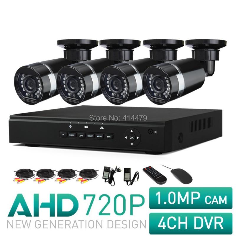 4CH AHD CCTV Surveillance System 720P HDMI AHD DVR 1.0 Megapixels IR Outdoor Security Camera 1200 TVL Camera Kits 24 LEDs(China (Mainland))