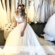 Buy Lace Two 2 Piece Wedding Dresses High Neck Tulle Wedding Gowns Weding Bridal Bride Dresses weddingdress robe de mariage for $159.30 in AliExpress store