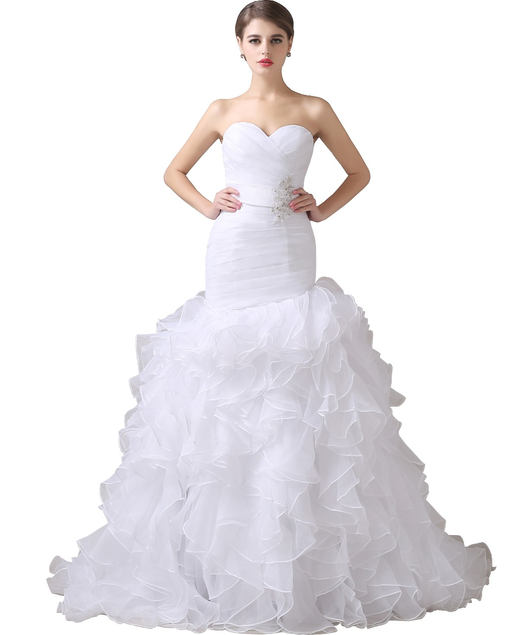 Vestidos de noiva ivory organza ruffle skirt white mermaid for Mermaid organza wedding dresses