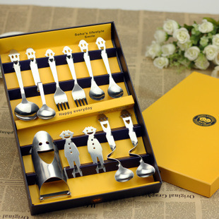 Home & Garden Kitchen Dining & bar Tableware Dinnerware SetsHappy smiley stainless steel cutlery set family(China (Mainland))