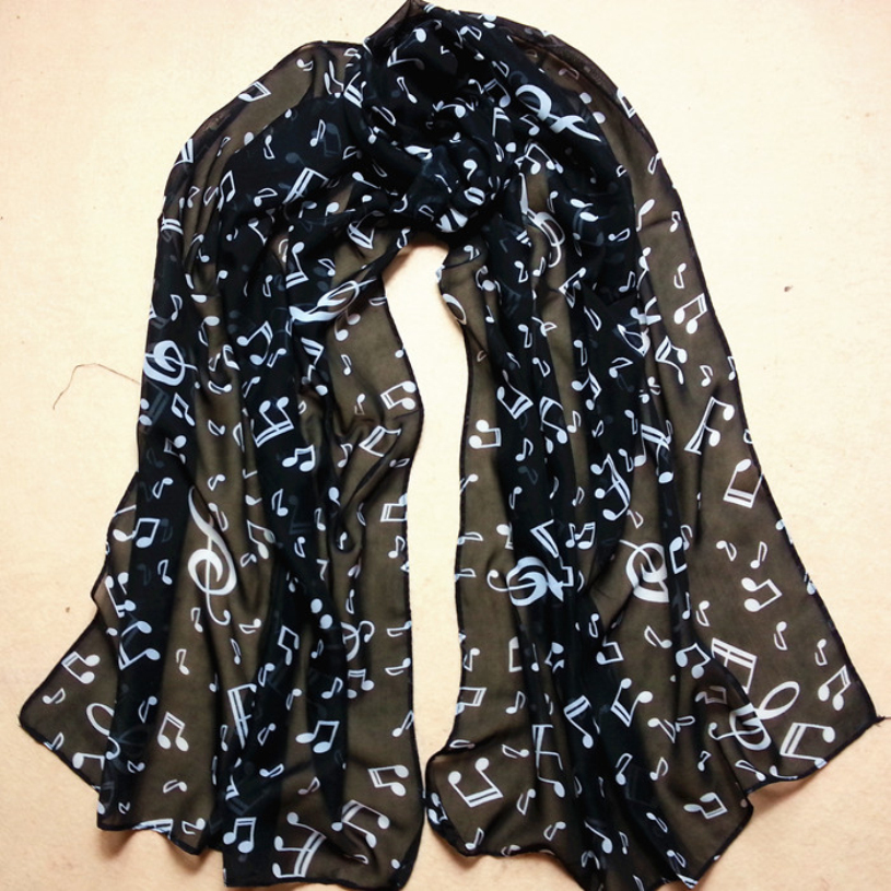 brand new 2015 musical note chiffon neck scarf