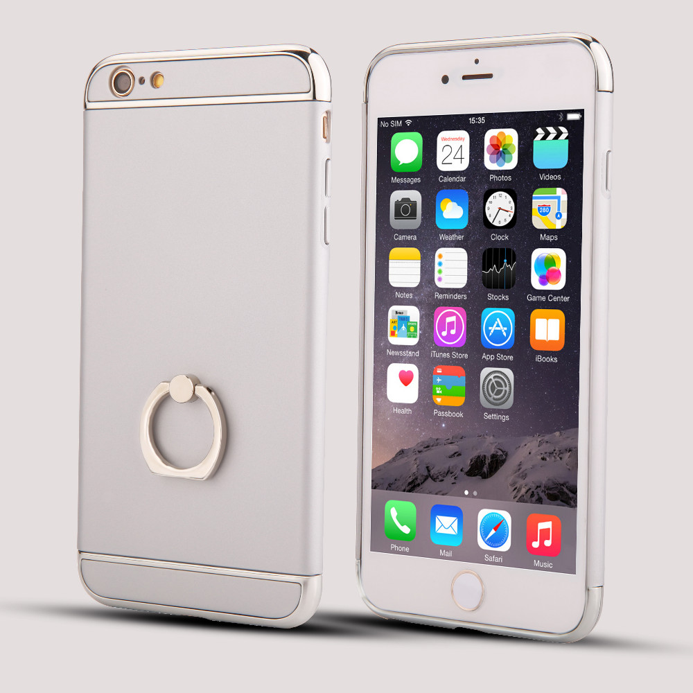For Iphone6 s Plus Luxury 3 in 1 electroplate metal Ring holder Stand phone cases For iPhone 6 6s Plus Hard Protective Cases