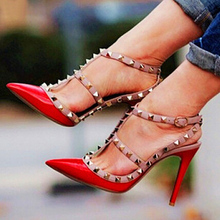 2016 New Fashion Designer Two-Tone Slingback Sandal 100mm Red Patent Leather T-Strap Pumps Women Rivets High Heels Ladies Shoes(China (Mainland))
