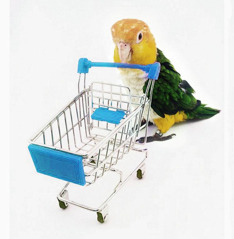 Multi-colors Mini Shopping Cart Trolley Pet Bird Parrot Hamster Toys Cart(China (Mainland))