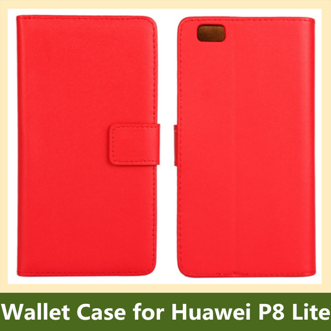 Popular Genuine Leather Wallet Flip Cover Case for Huawei P8 Lite with Stand Holder 10pcs/lot Free Shipping