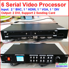 led rental display video processor Composite/DVI/vga input, support 2 sending card, 1920*1080 pixel,Led screen Video Processor(China (Mainland))
