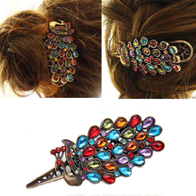 1Pc Vintage Girls Women's Crystal Rhinestone Peacock Hair Barrette Clip Hairpin(China (Mainland))