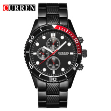 Vogue CURREN 8028 Elegant Quartz Steel Watch Mens Wristwatches with Point Scales/Round Dial-Black