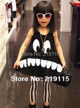 Trendy clothing smiley girls A-line dress children summer sleeveless dress Free Shipping