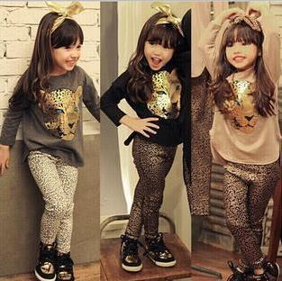 Retail 2015 New Girls Clothing Sets full sleeve T shirt+legging 2 piece/set 3 color baby Leopard Print clothing kids clothes(China (Mainland))