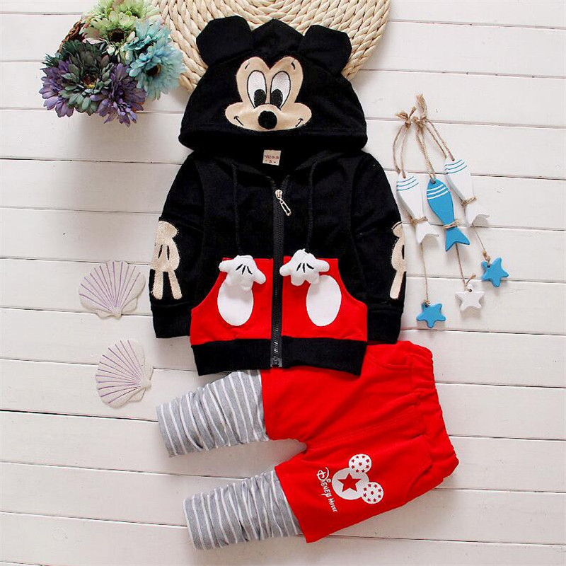 new Infants baby clothing boys girls tracksuits cartoon shirt+ pants 2pcs kids boy clothes Children clothing set with hooded
