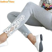 Newly Design Women Lady Autumn Cotton Leggings Side Leg Triangle Lace Solid Pants Aug19(China (Mainland))