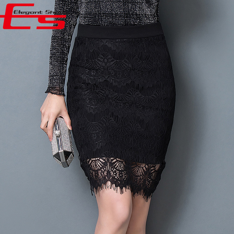 New 2016 Spring Fashion American Apparel Lace Pencil Skirts Womens Sexy Black Saia High Waist Plus Size Skirt Female(China (Mainland))